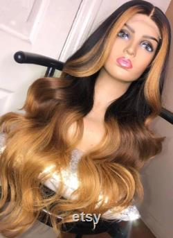 13x4 Lace Frontal perruque Honey Blonde bande, 1b racines ombre miel Brown and miel Blonde Custom Body wave Handmade
