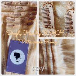 16 30 Simplement sans couture double wefted clip-in extensions remy vietnamiennes