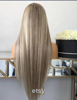 20 Inch HD Ash Blonde Highlight Long Straight European Human Hair Lace Front Perruques