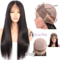 360 lacets perruque frontale Brésillian Virgin Remy Human Hair Straight 1B Natural Grade 12A