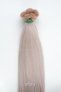 50 26 Pouces Silver Virgin Real Human Flat Tip Hair Extensions 0.8g