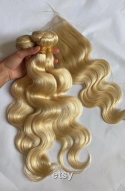 613 Blonde Human Hair Double Wefted Bundle Extensions cheveux