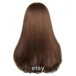 BRUN Cheveux droits soyeux humain Perruque Cambodge Vierge Remy Cheveux
