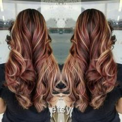 Bourgogne de luxe avec Caramel Balayage 100 Human Hair Swiss 13x4 Dentelle Front Glueless Perruque Wavy U-Part, 360 ou Full Lace Upgrade Available