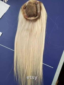 Cheveux de luxe Topper Real Human Hair Piece for Women Natural Straight Ombre Brown Fading to 613 Blonde Mono Toupee with Clips 130