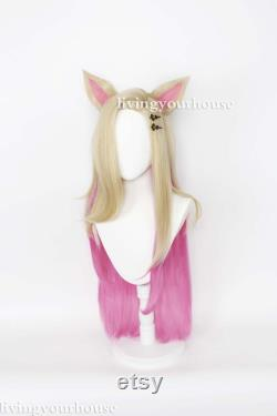 League Of Legends K DA Ahri Tailed Demon Fox Cosplay Wig, Golden Gradient Pink Wig, Halloween Wig, Performance Wig, Party Wig, Long Curly Wig