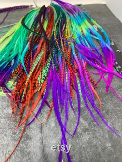 Long Skinny Hair Feathers Extension Festival Fashion Feathers Accessoires Hippie Hair Rooster Feathers on Display Ring QTY100