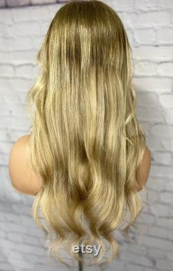 Luxe Ash Blonde Ombre Balayage 100 Human Hair Swiss 13x4 Dentelle Avant Perruque glueless Wavy 360, Full Lace ou U-Part Upgrade Available 2021