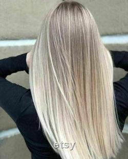 Luxe Balayage Highlight Light Ash Blonde Platinum 100 Human Hair Swiss Lace Front Glueless Wig 360, Full Lace or U-Part Upgrade Available