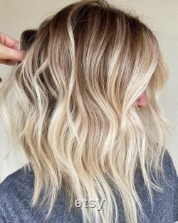 Luxe Beachy Blonde Sun-kissed Warm Balayage 100 Human Hair Swiss Lace Front Glueless Perruque Wavy 360, Full Lace ou U-Part Upgrade Available