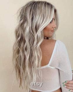 Luxe Boho Chic Sandy Blonde Balayage Shakira Platinum Blonde 100 Human Hair Swiss 13x4 Lace Front Wig Wavy Full Lace Upgrade Disponible