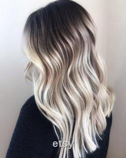 Luxe Cold White Platinum Balayage Dark Roots 100 Human Hair Swiss Lace Front Glueless Wig Wavy U-Part ou Full Lace Upgrade Available
