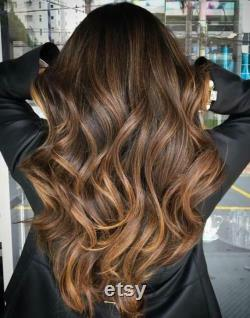 Luxe Dark Brown Caramel Blonde Balayage Highlight 100 Human Hair Swiss Lace Front Glueless Wig 360, Full Lace or U-Part Upgrade Available