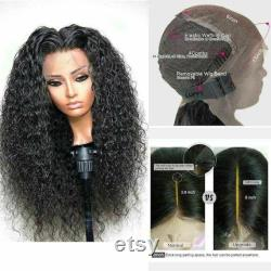 Luxe Deep Wave Curly Black 100 Human Hair Swiss 13x4 Dentelle Avant Glueless Wig 1B 360, Full Lace ou U-Part Upgrade Available