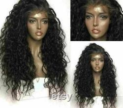 Luxe Natural Curly Black 100 Human Hair Swiss 13x4 Lace Front Glueless Wig Preplucked 1B U-Part, 360 ou Full Lace Upgrade Available