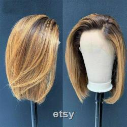Luxe Remy Bob Ombre 100 Human Hair Swiss Lace Front Glueless Wig Ash Balayage Highlight 360, Full Lace or U-Part Upgrade Available