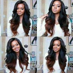 Luxe Remy Wavy Ombre Dark Red 100 Human Hair Swiss 13x4 Dentelle Avant Glueless Wig Burgundy Colouful U-Part ou Full Lace Upgrade Available