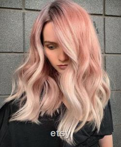 Luxe Rose Gold Platinum Blonde Balayage 100 Human Hair Swiss 13x4 Dentelle Avant Perruque Glueless Wavy 360, Full Lace ou U-Part Upgrade Available