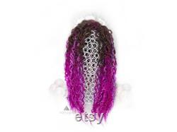 Ombre Brown and Purple Pink curly Dreadlocks Double ended Full set 22-24 inches Fake Dreads Valentines day Gift