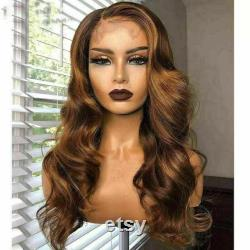 Ombre de luxe Golden Brown 100 Human Hair Swiss 13x4 Lace Front Wig Highlight Balayage Highlight 360, Full Lace or U-Part Upgrade Available
