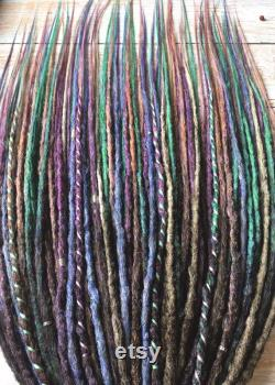 Soft Colours Synthetic SE Dreads Ombre Dark Brown fading to Peachy-beige Violet Emerald Ashen Single Ended Fake Dreadlocks Extensions